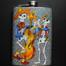 Stainless Steel Flask - 8oz., Day of the Dead Skeletons Playing Instruments