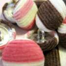 Pink, Brown, and White Stripped Corduroy Material Covered Buttons, 94 Pc