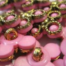 Retro Hot Pink and Gold Colored Plastic Buttons, 16 Pc