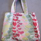 Heart Print on Green Canvas Tote Purse