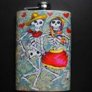 Stainless Steel Flask - 8oz., Day of the Dead Skeleton Couple Blue Background