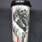 Travel Mug, Day of the Dead Couple in Black and White with Striped Background