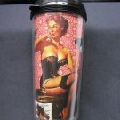 Travel Mug, Pin Up Girl in Black Nighty