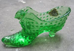 Spring Green Fenton Cat Head Slipper, Glass Shoe