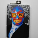 Stainless Steel Flask - 8oz., Lucha Libre Man with Black and White Background