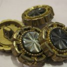 Gold Rim with Shell Center Star Design Buttons, 4 Pc