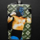 Stainless Steel Flask - 8oz., Luche Libre Masked Man with Green and White Background