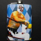 Stainless Steel Flask - 8oz., Luche Libre Masked Man with Dark and Light Blue Background