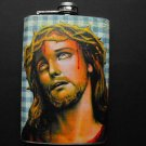 Stainless Steel Flask - 8oz., Jesus with Blue and White Background