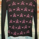 *New* Adeline Long Sleeve Black Top with Skulls and Guns, Size Medium