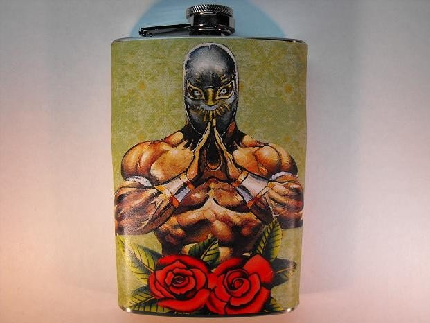 Stainless Steel Flask - 8oz., Lucha Libre Man with Red Roses