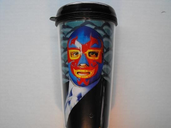 Travel Mug, Lucha Libre Masked Man in Suit