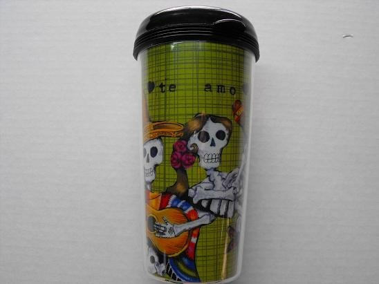 Travel Mug, Day of the Dead Dancing Couple with Green Background