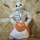 Quinoa Clay Day of the Dead Figure, Women in Orange and White Skirt