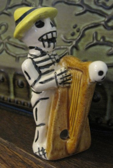 Ceramic Day of the Dead Figure, Man in Yellow Hat Playing Instrument