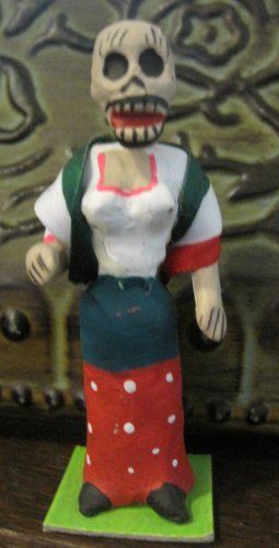 Clay Day of the Dead Figure, Woman in Dress with Cloth Red, Green, and White Shawl