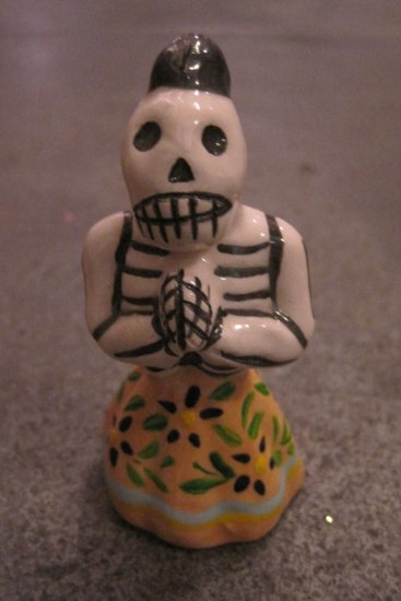Ceramic Day of the Dead Figure, Woman in Tan Skirt with Dark Blue Flower Design