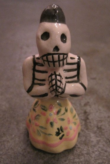 Ceramic Day of the Dead Figure, Woman in Yellow Skirt with Pink Flower Design