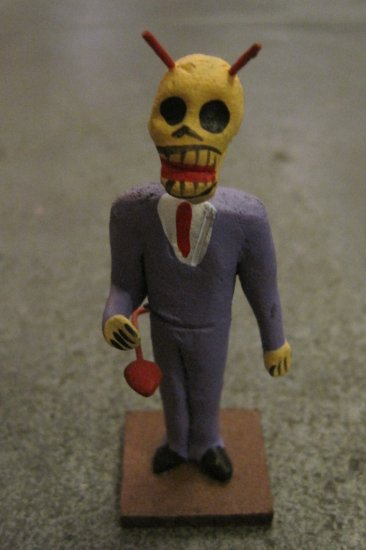 Clay Day of the Dead Figure, Business Man in Purple Suit with Devil Horns