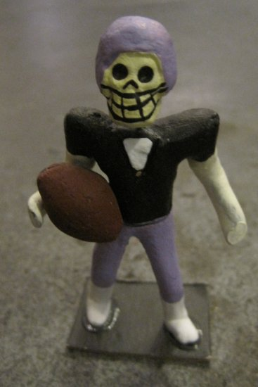 Clay Day of the Dead Figure, Foot Ball Player