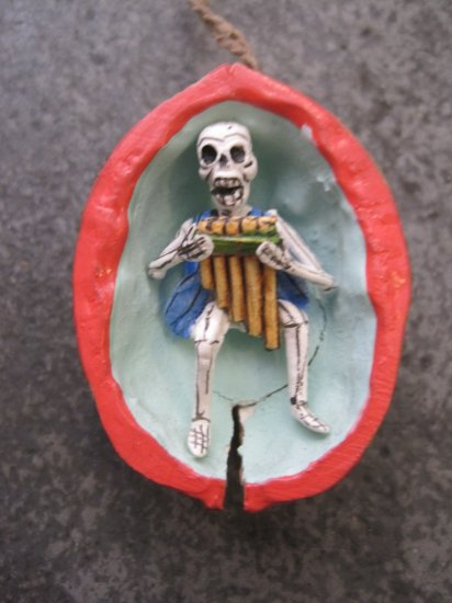 Day of the Dead Skeleton Playing Flute Walnut Ornament