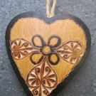 Small Hand Carved Dark and Light Gourd Heart Ornaments