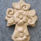 Hand Made Clay Cross with Flower Design 2