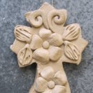 Hand Made Clay Cross with Flower Design 7