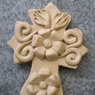 Hand Made Clay Cross with Flower Design 9