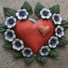 Hand Painted Clay Heart, Blue Flowers