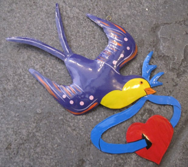 Hand Painted Tin Bird Hanging Ornament, Purple and Yellow, Holding Blue Ribbon and Red Heart