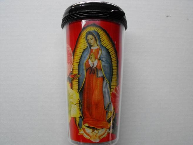 Travel Mug, Our Lady of Guadalupe Pint with Red Background
