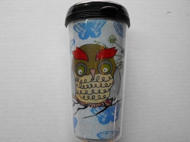 Travel Mug, Owl Print with White and Blue Butterfly Background