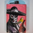 Stainless Steel Flask - 8oz., Lucha Libre Man with Yellow Bird