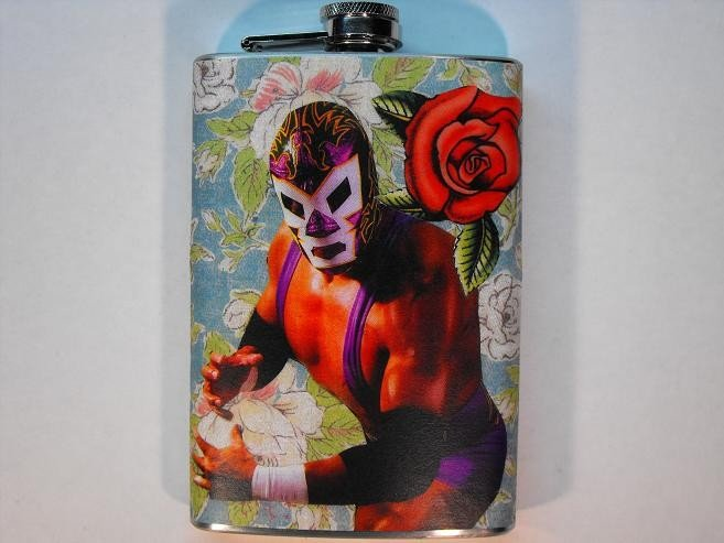Stainless Steel Flask - 8oz., Lucha Libre Man with Red Rose and Colorful Background