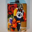 Stainless Steel Flask - 8oz., Lucha Libre Men Wrestling with Red Rose Background