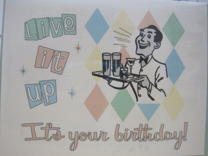 """Live It Up, It's Your Birthday"" Retro Print Birthday Card"