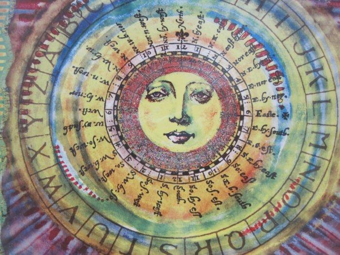Sun Dial Print Blank Greeting Card