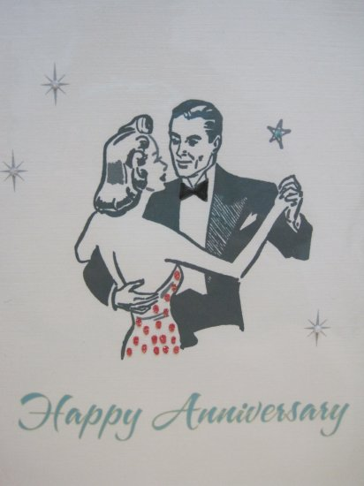 """Happy Anniversary"", Retro Print Anniversary Card"