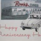 """""""Happy Anniversary Honey"""", Retro Print Anniversary Card"""