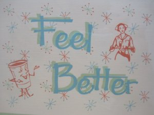 """Feel Better"" Retro Print Get Well Card"