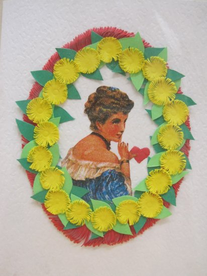 Hand Cut Paper Flower Blank Card with Vintage Female Print, Envelope Included
