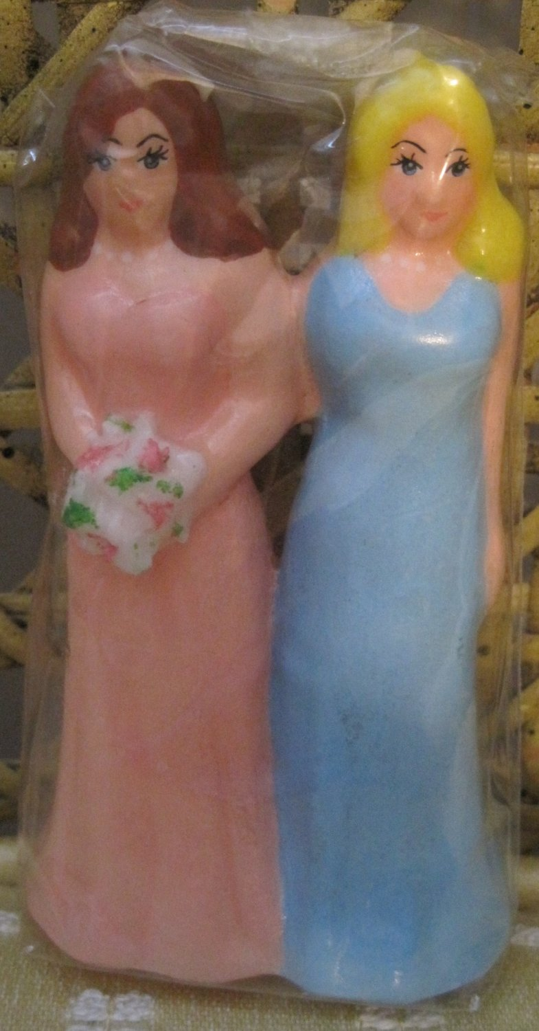 Bride and Bride Wedding Candle, Pink and Blue