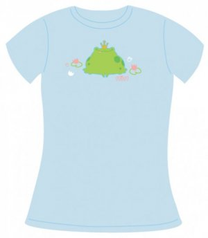 Light Blue Tee, Frog Prince Print, Size Large