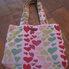 Purple Canvas Tote Bag, Colorful Heart Print