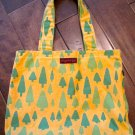 Yellow Canvas Tote Bag, Tree Print