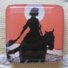 Vintage Cowgirl at Sunset Square Magnet
