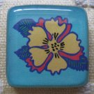 Colorful Yellow Flower on Blue Background Square Magnet