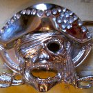 Silver Pirate Skull and Crossbones with Rhinestones, Belt Buckle
