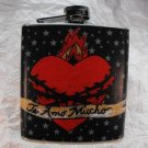 "Stainless Steel Flask - 8oz., ""Te Amo Mucho"" Sacred Heat with Black Background"